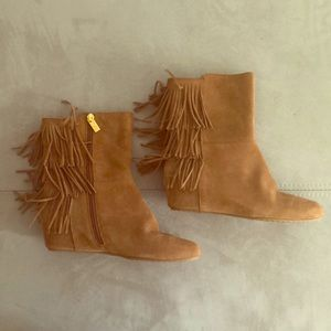 Isola Brown Suede Fray Booties